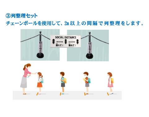 ③列整理セット チェーンポールを使用して、2m以上の間隔で列整理をします 。