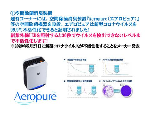 ➀空間除菌消臭装置運営コーナーには、空間除菌消臭装置『Aeropure(エアロピュア)』等の空間除菌機器を設置。エアロピュアは新型コロナウイルスを99.9%不活性化できると証明されました!新紫外線LEDを照射すると30秒でウイルスを検出できないレベルまで不活性化します!※2020年5月27日に新型コロナウイルスが不活性化することをメーカー発表